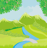 Mountain landscape, illustration Stock Photography