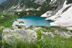 Mountain landscape with lake. Stock Photos