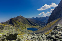 Mountain  landscape with lake. In Carpathian Royalty Free Stock Image