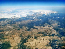 Mountain landscape / lake Allos, France - aerial view. Mountain landscape during flight near lake Lac d'Allos in the south of France / Alpes de Haute Provence Stock Photography