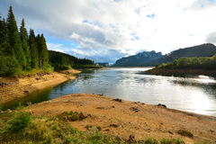 Mountain landscape with lake and forest. Royalty Free Stock Photos