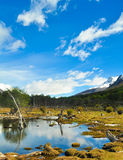 Mountain landscape with a lake in front and reflection in the water Royalty Free Stock Photos