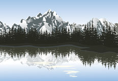 Mountain landscape with lake and snowy peak. Royalty Free Stock Photos