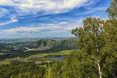 Mountain landscape with the lake and the village Stock Photo