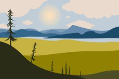 Mountain landscape with lakes. Trees in the foreground. Coniferous forest. Sky with clouds. Summer, spring nature. Travel, outdoor activities, outdoor sports stock illustration