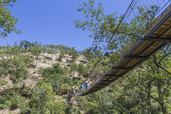 Suspension bridge. Over the river Paiva - Arouca, Portugal Royalty Free Stock Images