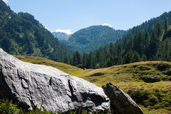Mountain landscape with a large boulder Stock Images