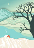 Mountain landscape in layer art style. Christmas illustration. Illusion of depth in romantic winter scene with rural house Stock Photos