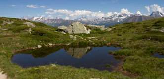 Mountain landscape. Little lake with view of the alps located in the Unesco Hertitage of Aletsch, Switzerland Royalty Free Stock Photography