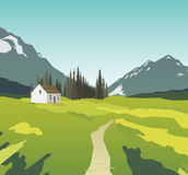 Mountain landscape with a lonely house Royalty Free Stock Image