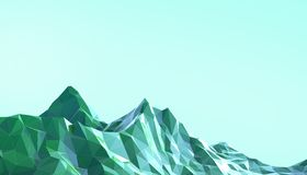 Mountain Landscape Low poly art Gradient Psychedelic with Colorful Blue on Background. 3d rendering royalty free illustration