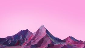 Mountain Landscape Low poly with Colorful Gradient Psychedelic Purple on Background. 3d rendering vector illustration