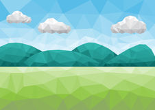 Mountain landscape low poly. Mountain and field landscape in low poly style Royalty Free Stock Photos