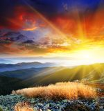 Mountain landscape. Majestic sunset in the mountains landscape. HDR image royalty free stock photo