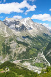 Mountain landscape of Mont Blanc massif and Giant's tooth. Mountain landscape of Mont Blanc massif and Giant tooth . Courmayeur , Italy Stock Photo