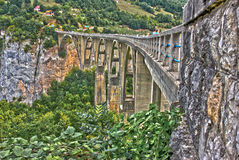 Mountain landscape, Montenegro. Durdevica Tara arc bridge in the. Mountains, One of the highest automobile bridges in Europe Royalty Free Stock Photo