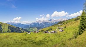 Mountain landscape with mountain huts in the alps, Aus Royalty Free Stock Photography