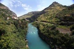 Mountain landscape with mountain turbulent river Royalty Free Stock Photos