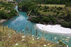 Mountain landscape with mountain turbulent river Stock Photos