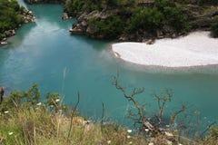 Mountain landscape with mountain turbulent river Stock Photo