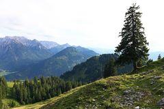 Mountain landscape and mountaineering in the Allgaeu Alps Stock Photos