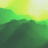 Mountain Landscape. Mountainous Terrain. Mountain Design. Vector Silhouettes Of Mountains Backgrounds. Sunset. Can Be Used For Banner, Flyer, Book Cover Stock Photo