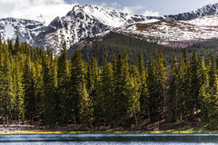 Mountain landscape mt evans colorado echo lake. Nature landscape of mount evans taken from echo lake in colorado. snow covered mountains .. snow capped mountains Royalty Free Stock Images