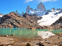 Mountain landscape with Mt Fitz Roy and Laguna de Los Tres in Los Glaciares National Park, Patagonia, Argentina, South America.  Royalty Free Stock Photos