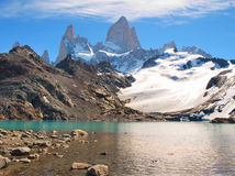 Mountain landscape with Mt. Fitz Roy in Patagonia. Beautiful Laguna de Los Tres with Mt Fitz Roy in the background as seen in Patagonia, Argentina stock image