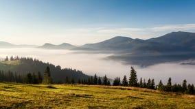 Mountain landscape. nature. fog clouds. Stock Photos