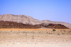 Mountain landscape in Naukluft national park in Namib Desert on the way to the dunes of Sossusvlei, Namibia, Southern Africa royalty free stock image