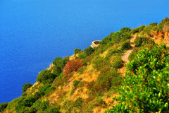 Mountain landscape near sea with punta chiappa Stock Image