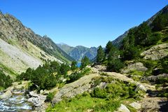 Mountain landscape near the town of Cauterets, national park Pyrenees. stock images