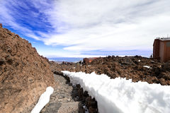 Mountain landscape near volcano Teide snow Royalty Free Stock Photography