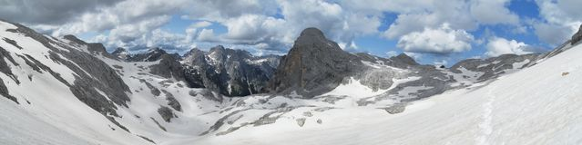 Mountain landscape neat Dom Valentina Stanica mountain hut below Triglav in Julian Alps Stock Photography