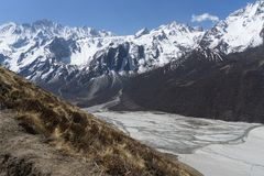 Mountain landscape in Nepal. Trekking in Himalaya mountains with snow peaks Stock Photography
