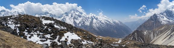 Mountain landscape in Nepal. Trekking in Himalaya mountains with snow peaks Royalty Free Stock Photography