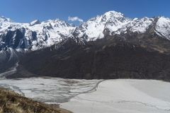 Mountain landscape in Nepal. Trekking in Himalaya mountains with snow peaks Royalty Free Stock Photo