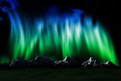 Mountain landscape with Northern lights sky. 3D render of a mountain landscape with a sky with Northern lights Stock Photo