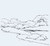 Mountain landscape with oak trees. Vector drawing Stock Image