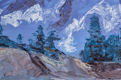 Mountain landscape with oil paints Royalty Free Stock Photography