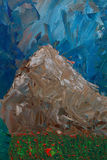 Mountain landscape with oil paints Stock Images