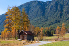 Mountain Landscape with Old Wooden Hut Royalty Free Stock Photo
