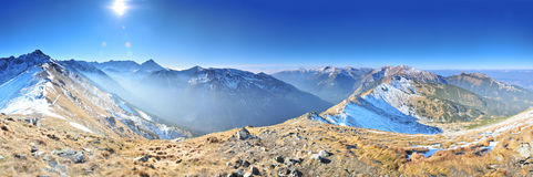 Mountain landscape panoram. Mountain landscape Tatry Poland sun royalty free stock photos