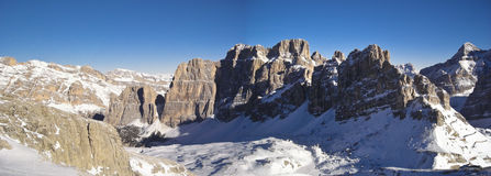 Mountain Landscape PANORAMA. Winter view of mountain landscape from Sella pass in a sunny day - Dolomites, Italy 2007 Royalty Free Stock Photos