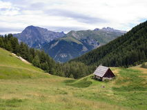 Mountain landscape. Panorama in the department of Hautes Alpes Royalty Free Stock Image