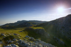 Mountain Landscape Panorama, Sunset In Mountain Royalty Free Stock Images