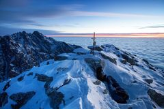Mountain landscape panoramic view with blue sky Gorgeous winter sunset in mountains, Alps. Colorful outdoor scene, Christmas. Mountain landscape panoramic view stock photo