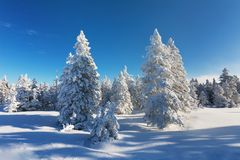 Mountain landscape panoramic view with blue sky Gorgeous winter sunset in mountains, Alps. Colorful outdoor scene, Christmas. Mountain landscape panoramic view royalty free stock photos