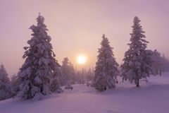 Mountain landscape panoramic view with blue sky Gorgeous winter sunset in mountains, Alps. Colorful outdoor scene, Christmas. Mountain landscape panoramic view royalty free stock images